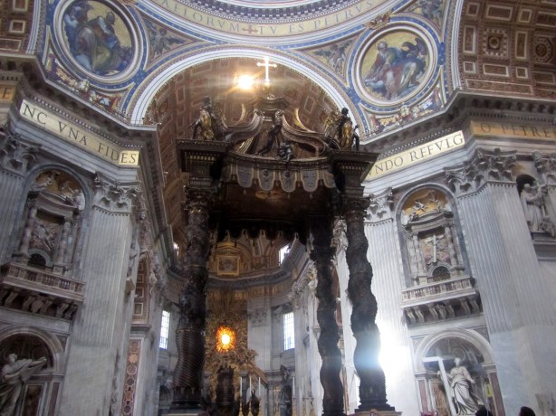 The altar with a baldacchino designed by Bernini